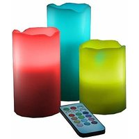 Remote Controlled LED Wax Pillar Unscented Fragranced Candle Set