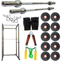 Power Rack(2X4) With Combo With 95Kg Weight+5Ft Olympic Straight Rod+7Ft Olympic Straight Rod+Gym Accessories