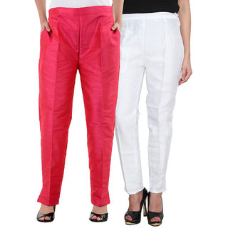 NumBrave Multicolor Raw Silk with Cotton Linning Narrow Fit Mid Rise Pant (Pack of 2)