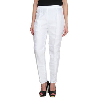 NumBrave White Raw Silk with Cotton Linning Narrow Fit Mid Rise Pant