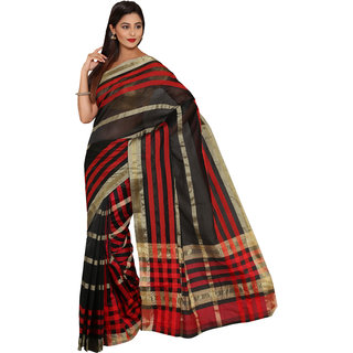 Iraya Black Poly Cotton Striped Saree