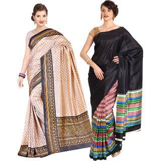 Iraya Beige And Black Art Silk Printed Saree (Pack of 2)