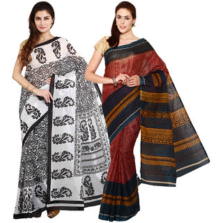 Iraya Brown And Black Poly Cotton Printed Saree (Pack of 2)