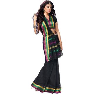 Iraya Black Cotton Solid Saree