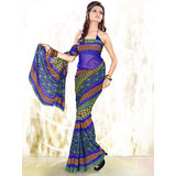 Adah Blue Chiffon Saree available at ShopClues for Rs.699