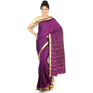 Pure Silk  Kanjeevaram Hand women Saree-Purple-TT9-VS-Silk