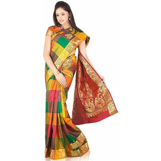 Pure Silk  Kanjeevaram Hand woven Saree-Multicolor-JG16-Art Silk