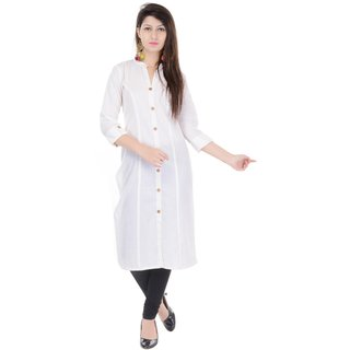 Mystique India Solid Off White Cotton Women Kurti