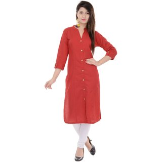 Mystique India Solid Red Cotton Women Kurti