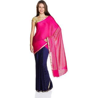 Iraya Pink Crepe Solid Saree