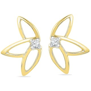 Ishis 18 Kt Artistic  Yellow Gold Diamond Fashion Earring (0.04 CT)
