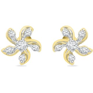 Ishis 18 Kt Designer  Yellow Gold Diamond Studs Earring (0.10 CT)