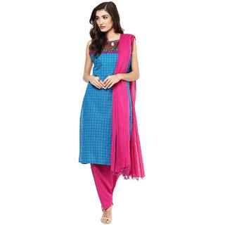 Jaipurkurti Pure Cotton Firozi and Rani Salwar Kameez Dupatta