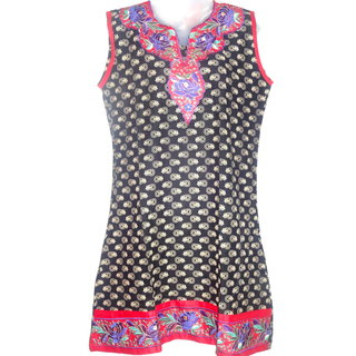Cotton Black Cut Work Designer Kurti with block print