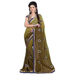 Swaron Brown Polyester Embroidered Party Wear Saree 109S1010