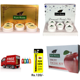 pure roots gold,diamond,fruit facial kit (pack of 3)free ads kajal worth Rs.120/