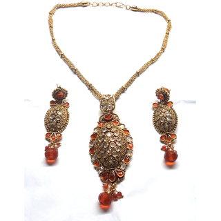 Anaaya Beautiful Pendent Set With Earrings (Rust Orange)