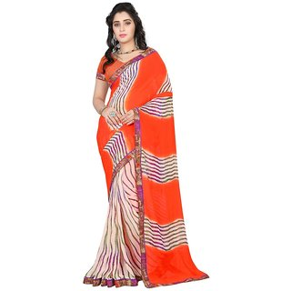 Karishma Stripe Printed Orange  Cream Georgette Saree