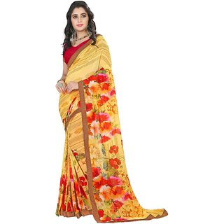 Karishma Floral Printed Yellow  Red Georgette Saree