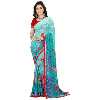 Karishma Floral Printed Turquoise  Red Georgette Saree