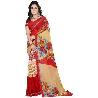 Karishma Floral Printed Red  Beige Georgette Saree