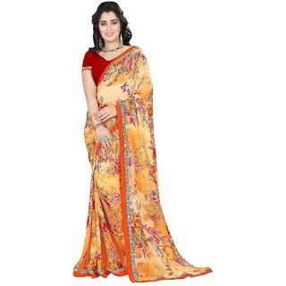 Karishma Floral Printed Orange  Red Georgette Saree