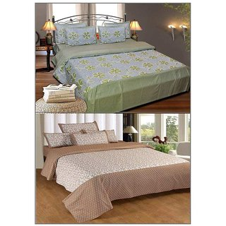 Shiv Fabs Cotton Double Bedsheets with 2 Pillow covers Combo of 2 ( XXX39 )