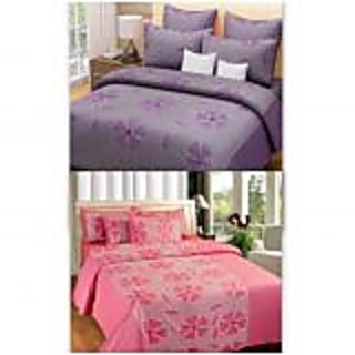Akash Ganga Combo of 2 Cotton Double Bedsheets (PurplePink)