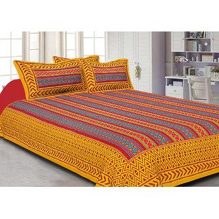 Jaipuri Haat Kantha Work Embroidered Check Pattern Yellow King Size Bed Sheet