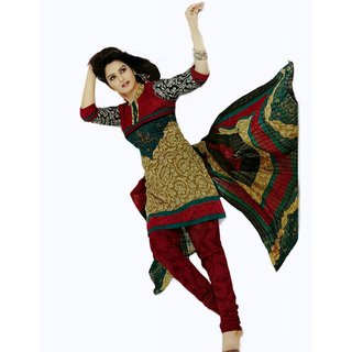 Salwar Studio Fawn & Red Cotton Unstitched Stylish Churidar Kameez
