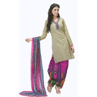 Salwar Studio Fawn & Pink Cotton Chikan Unstitched Stylish Churidar Kameez