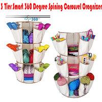3Tier Smart 360 Spining Carousel Shoe Cloth Wardrobe Cosmetic Toy Organizer