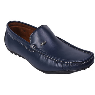 Knoos Men Blue Synthetic Leather Loafers