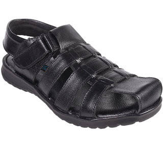 Knoos Men Leather Black Sandals