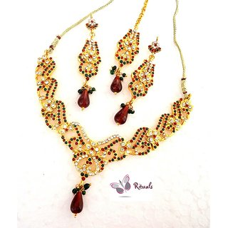 Designer 3 PIECE Necklace Set IN POLKI