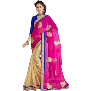 Manvaa Yellow color Georgette Printed womens ethnic saree