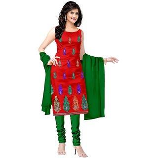 Shaili Maroon Crap Unstitched Dress Material