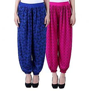 NumBrave Printed Viscose Blue Purple Harem Pants (Pack of 2)