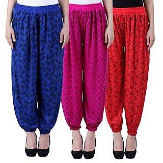 NumBrave Printed Viscose Blue Purple Red Harem Pants (Pack of 3)