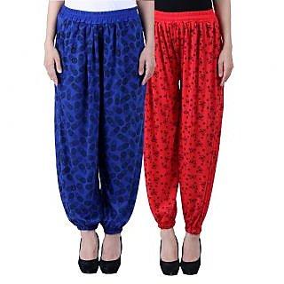 NumBrave Printed Viscose Blue Red Harem Pants (Pack of 2)