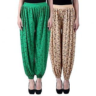 NumBrave Printed Viscose Green Beige Harem Pants (Pack of 2)