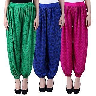 NumBrave Printed Viscose Green Blue Purple Harem Pants (Pack of 3)