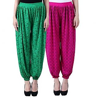 NumBrave Printed Viscose Green Purple Harem Pants (Pack of 2)