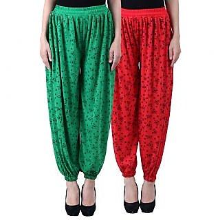NumBrave Printed Viscose Green Red Harem Pants (Pack of 2)