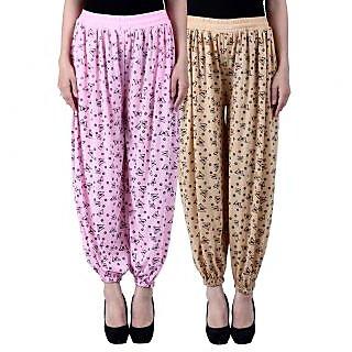 NumBrave Printed Viscose Light pink Beige Harem Pants (Pack of 2)