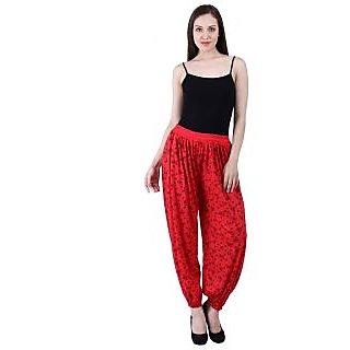 NumBrave Printed Viscose Red Harem Pants