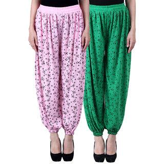 NumBrave Printed Viscose Light pink Green Harem Pants (Pack of 2)