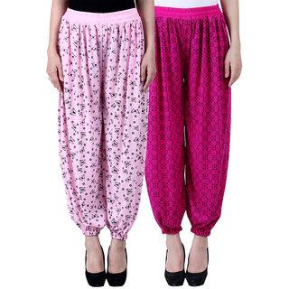 NumBrave Printed Viscose Light pink Purple Harem Pants (Pack of 2)
