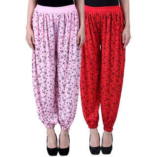NumBrave Printed Viscose Light pink Red Harem Pants (Pack of 2)