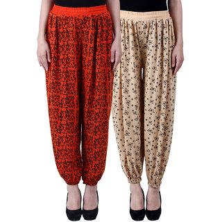 NumBrave Printed Viscose Orange Beige Harem Pants (Pack of 2)
